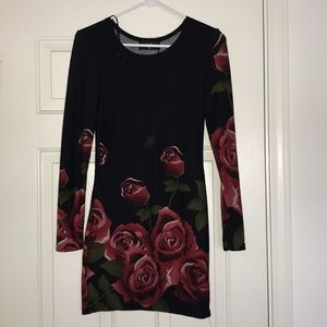 AX Paris black dress with red roses